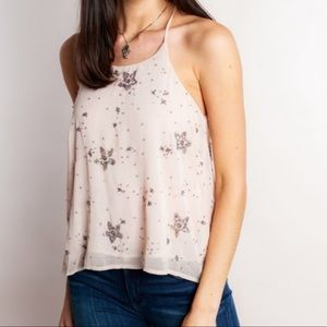 NWOT Free People light pink star sequin tank top